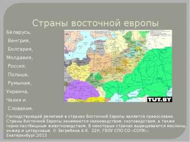 Страны восточной европы Беларусь, Венгрия, Болгария, Молдавия, Россия, Польша...