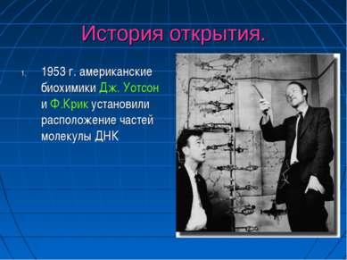 История открытия. 1953 г. американские биохимики Дж. Уотсон и Ф.Крик установи...