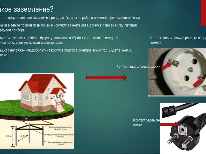 Что такое заземление? Заземление – это соединение электрическим проводом быто...