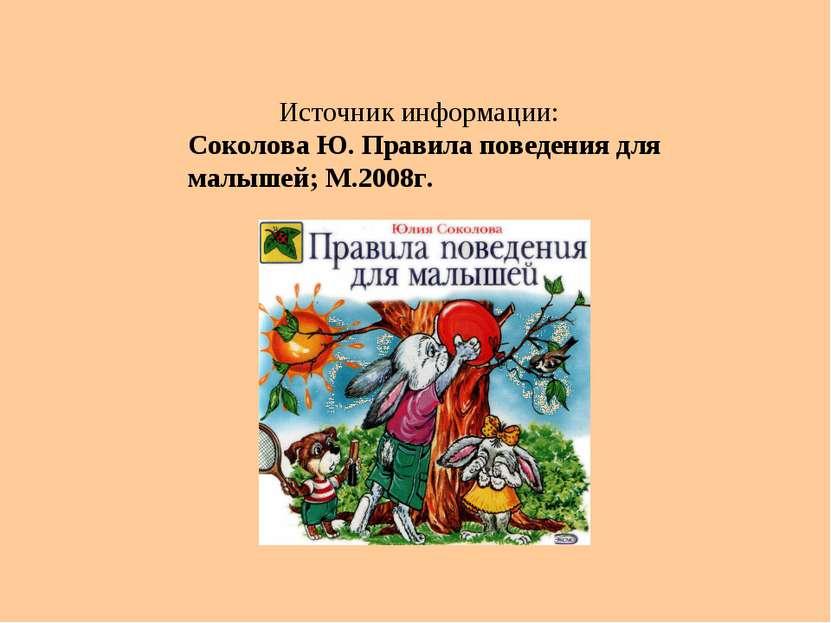Источник информации: Соколова Ю. Правила поведения для малышей; М.2008г.