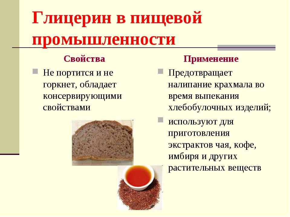 Глицерин в пищевой промышленности Свойства Не портится и не горкнет, обладает...