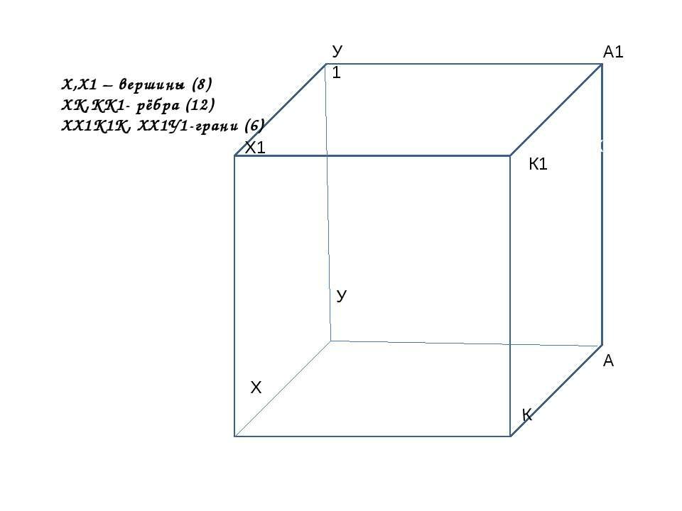 К Х К А У Х1 У1 К1 А1 К Х,Х1 – вершины (8) ХК,КК1- рёбра (12) ХХ1К1К, ХХ1У1-г...