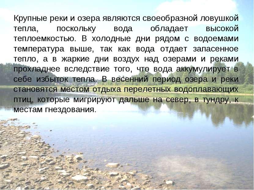 Крупные реки и озера являются своеобразной ловушкой тепла, поскольку вода обл...