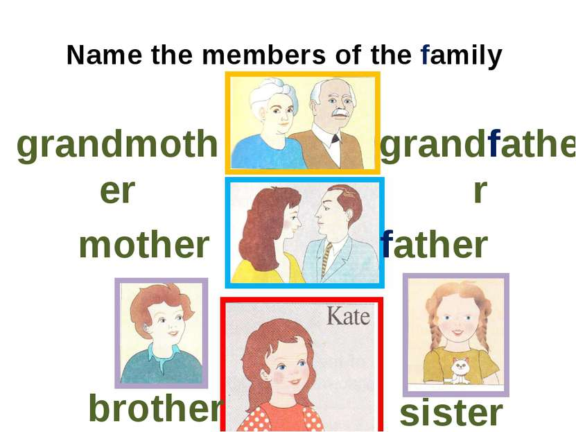 Name the members of the family grandmother grandfather mother father brother ...