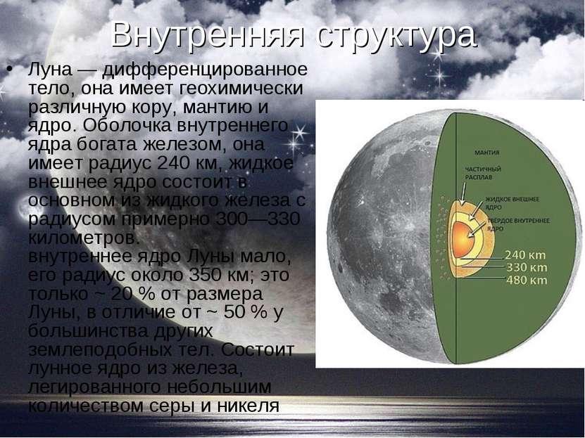 Внутренняя структура Луна — дифференцированное тело, она имеет геохимически р...