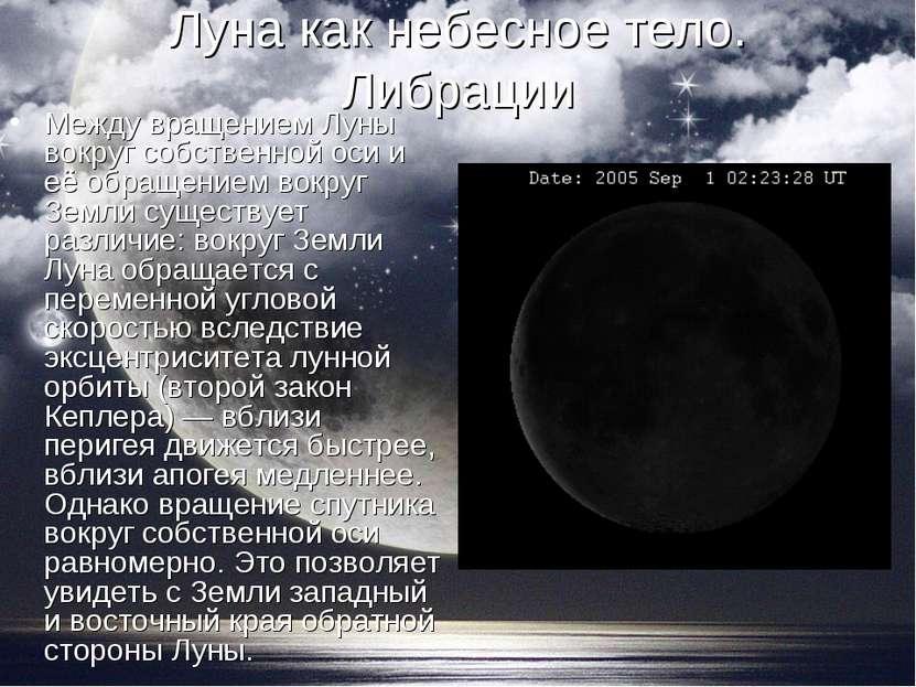 Луна как небесное тело. Либрации Между вращением Луны вокруг собственной оси ...