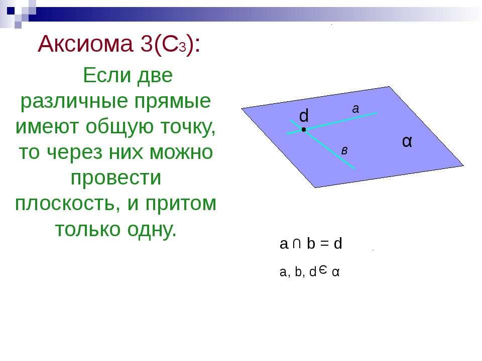 Аксиома 3(С3): Если две различные прямые имеют общую точку, то через них можн...