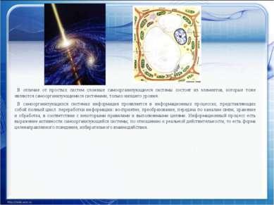 В отличие от простых систем сложные самоорганизующиеся системы состоят из эле...