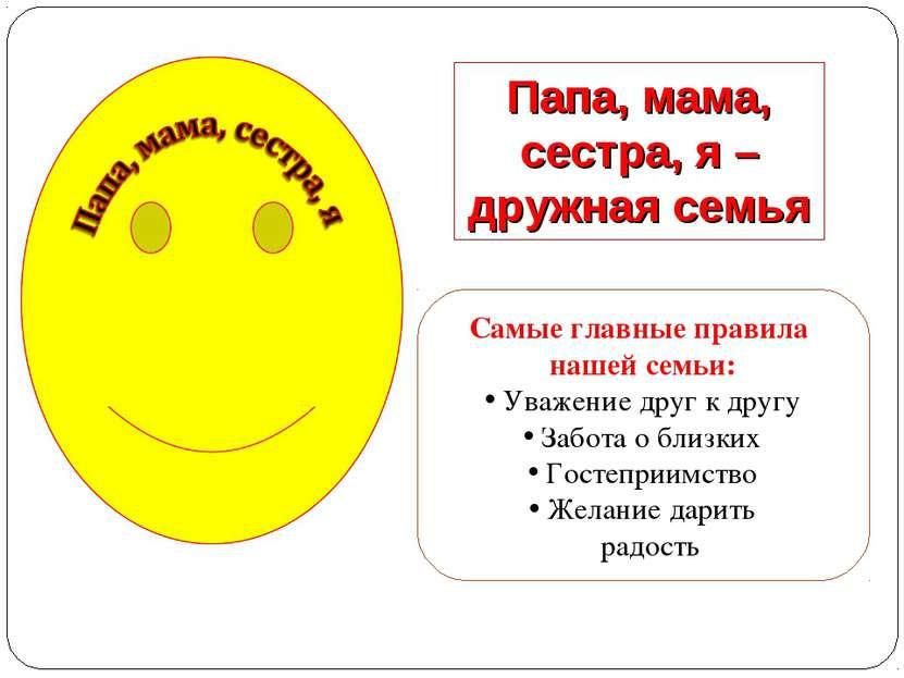 Папа, мама, сестра, я –дружная семья Самые главные правила нашей семьи: Уваже...