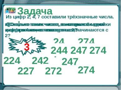 247 274 224 227 242 272 244 Задача: Из цифр 2, 4, 7 составили трёхзначные чис...
