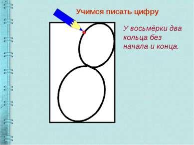 Учимся писать цифру У восьмёрки два кольца без начала и конца.