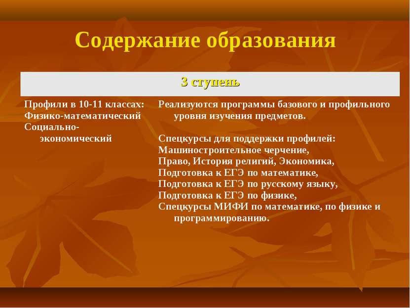 Содержание образования 3 ступень Профили в 10-11 классах: Физико-математическ...