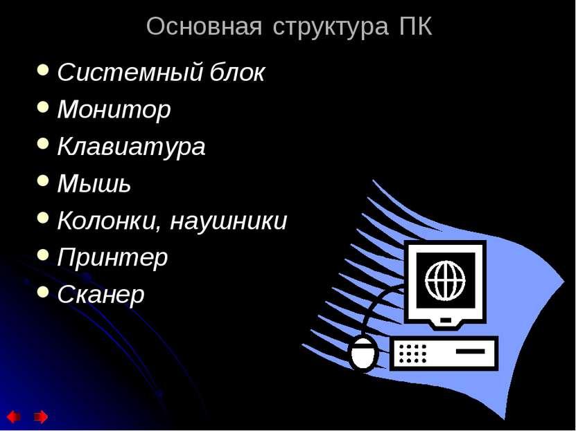 Основная структура ПК Системный блок Монитор Клавиатура Мышь Колонки, наушник...