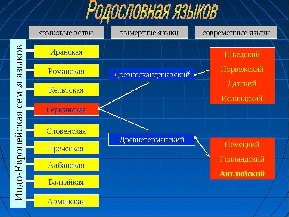 Индо-Европейская семья языков Иранская Романская Кельтская Германская Словенс...