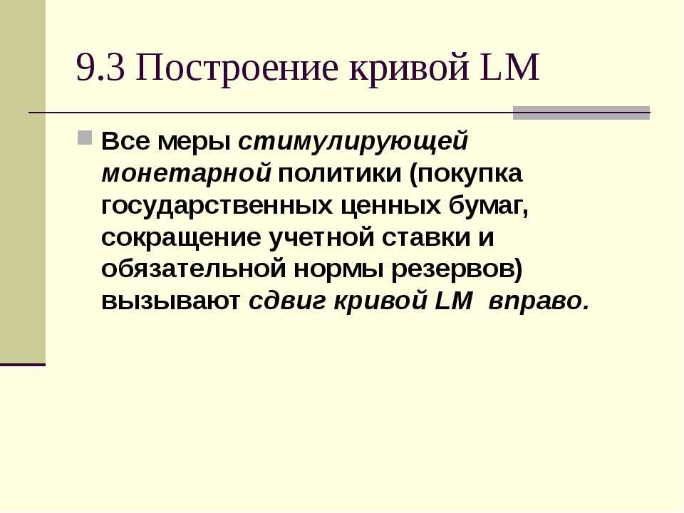9.3 Построение кривой LM Все меры стимулирующей монетарной политики (покупка ...