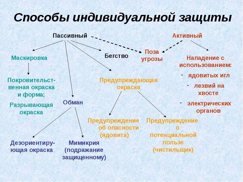 Способы индивидуальной защиты Пассивный Активный Бегство Покровительст-венная...