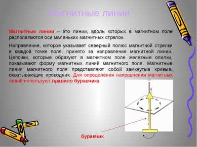 Магнитные линии – это линии, вдоль которых в магнитном поле располагаются оси...