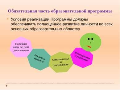 Обязательная часть образовательной программы Условия реализации Программы дол...
