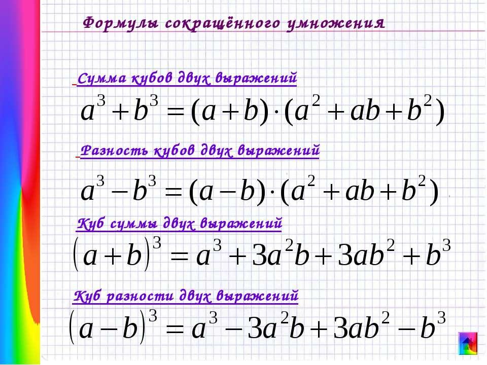 Формулы сокращённого умножения Разность кубов двух выражений Сумма кубов двух...