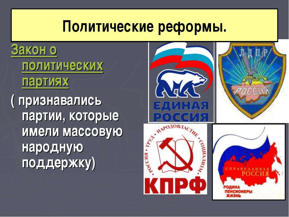 Закон о политических партиях ( признавались партии, которые имели массовую на...