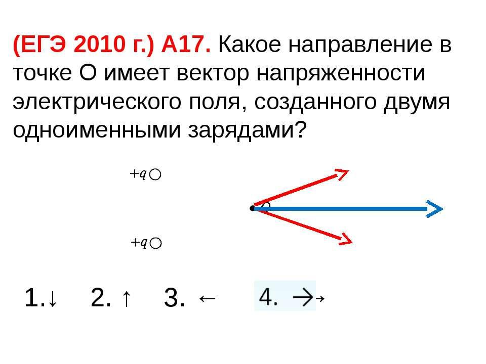 (ЕГЭ 2010 г.) А17. Какое направление в точке О имеет вектор напряженности эле...