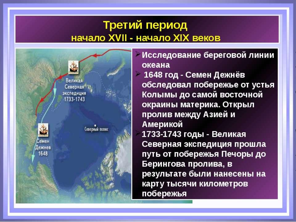 Третий период начало XVII - начало XIX веков Исследование береговой линии оке...