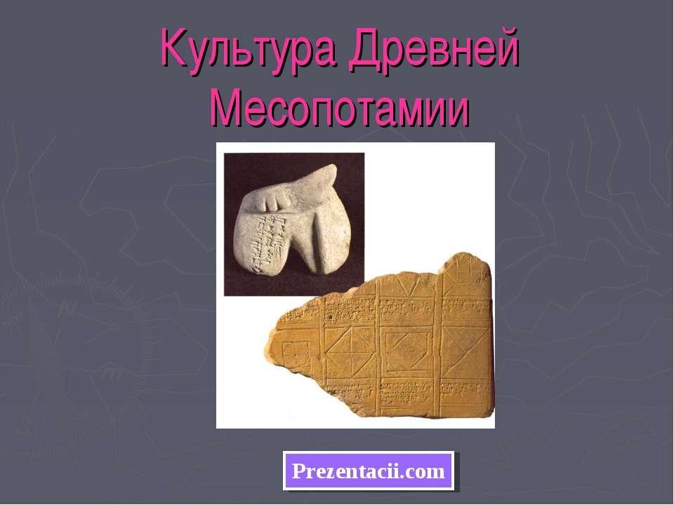 Культура Древней Месопотамии