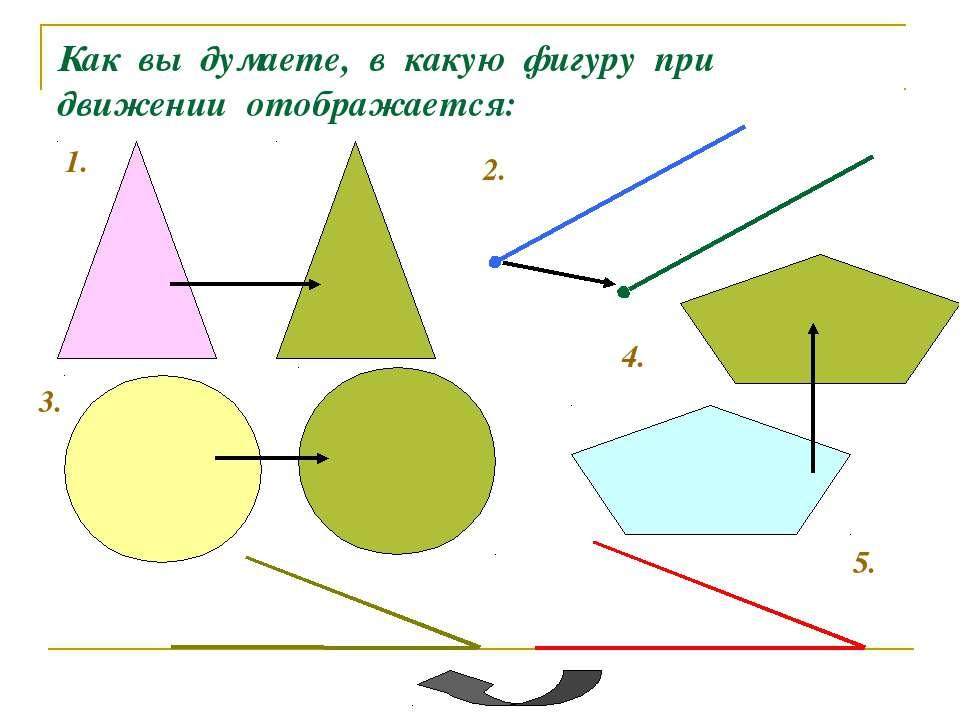 Как вы думаете, в какую фигуру при движении отображается: 1. 2. 3. 4. 5.