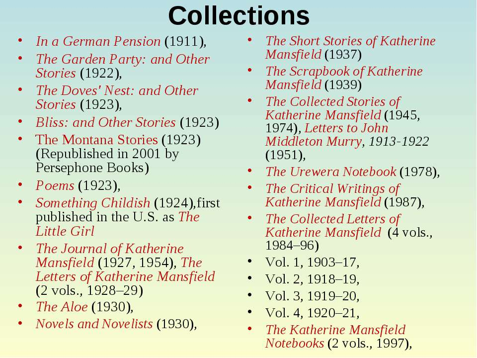 Collections In a German Pension (1911), The Garden Party: and Other Stories (...