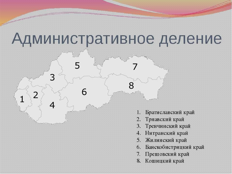 Административное деление Братиславский край Трнавский край Тренчинский край Н...