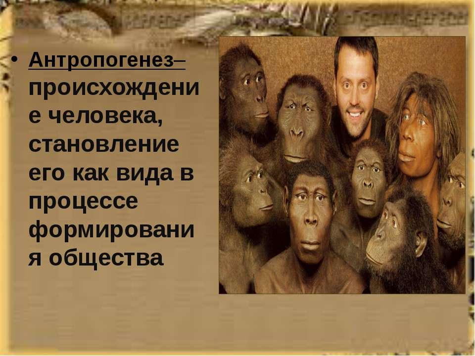 Антропогенез– происхождение человека, становление его как вида в процессе фор...