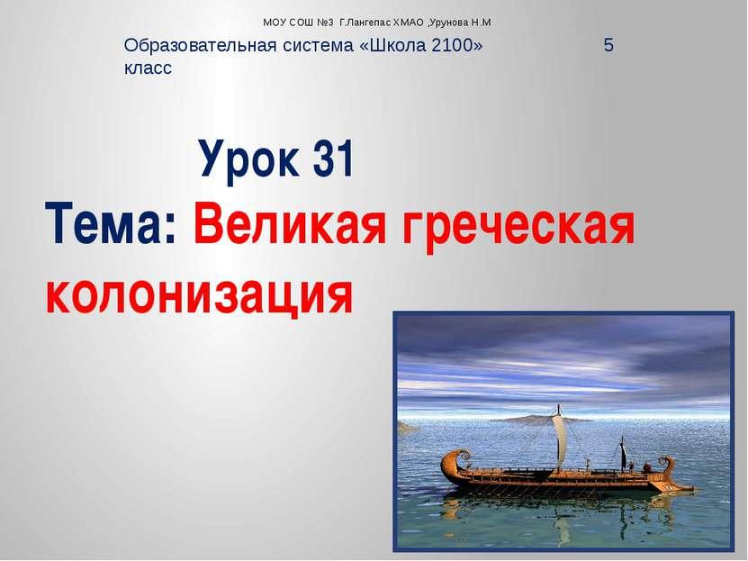 Урок 31 Тема: Великая греческая колонизация Образовательная система «Школа 21...