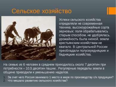Сельское хозяйство Успехи сельского хозяйства определяли не современная техни...