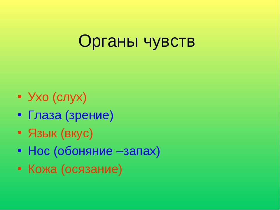 Органы чувств Ухо (слух) Глаза (зрение) Язык (вкус) Нос (обоняние –запах) Кож...