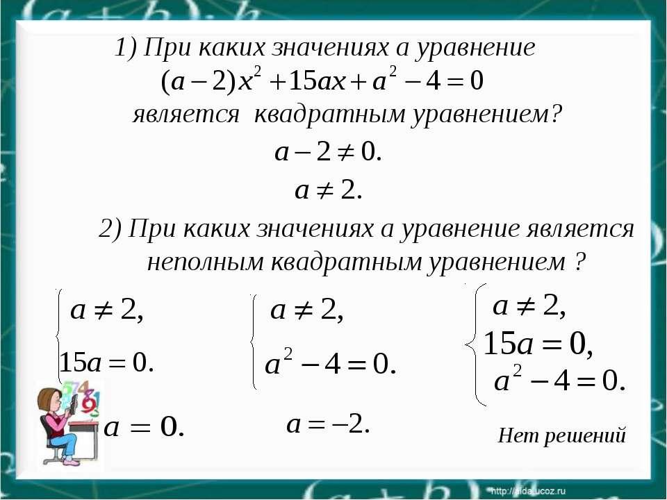 Нет решений 2) При каких значениях a уравнение является неполным квадратным у...
