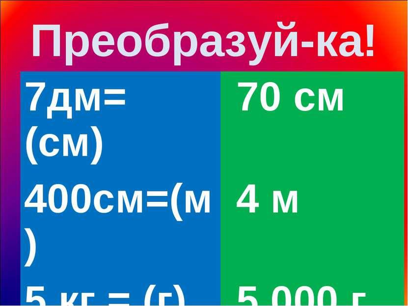 Преобразуй-ка! 7дм= (см) 70 см 400см=(м) 4 м 5 кг = (г) 5 000 г 9 м = (дм) 90 дм