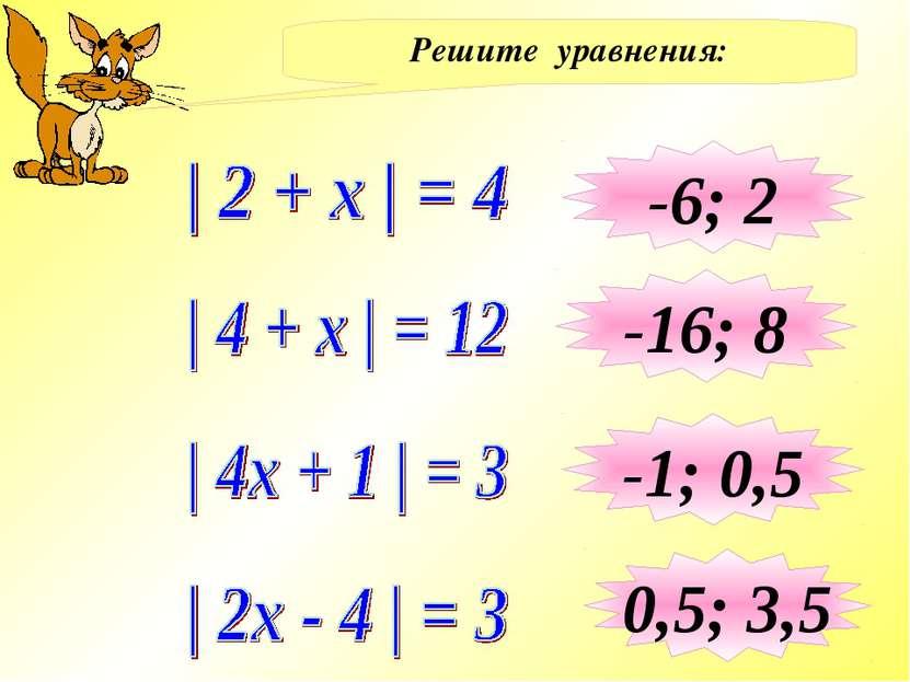 Решите уравнения: -6; 2 -16; 8 -1; 0,5 0,5; 3,5