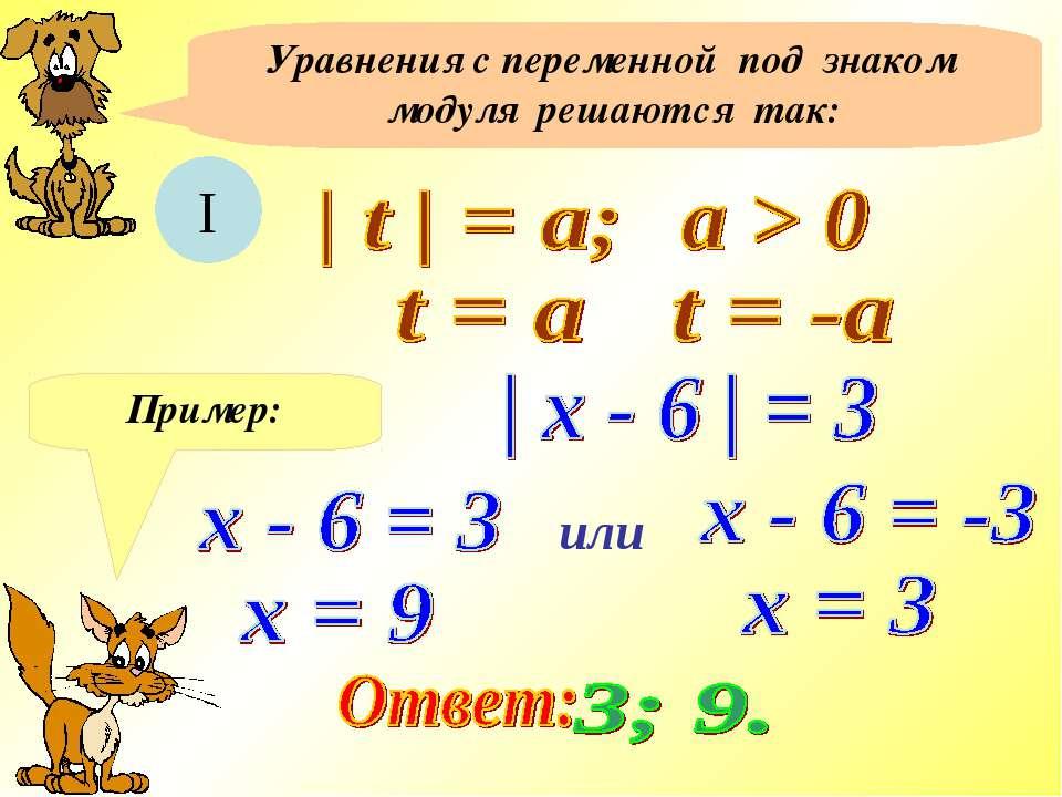 Уравнения с переменной под знаком модуля решаются так: I Пример: или