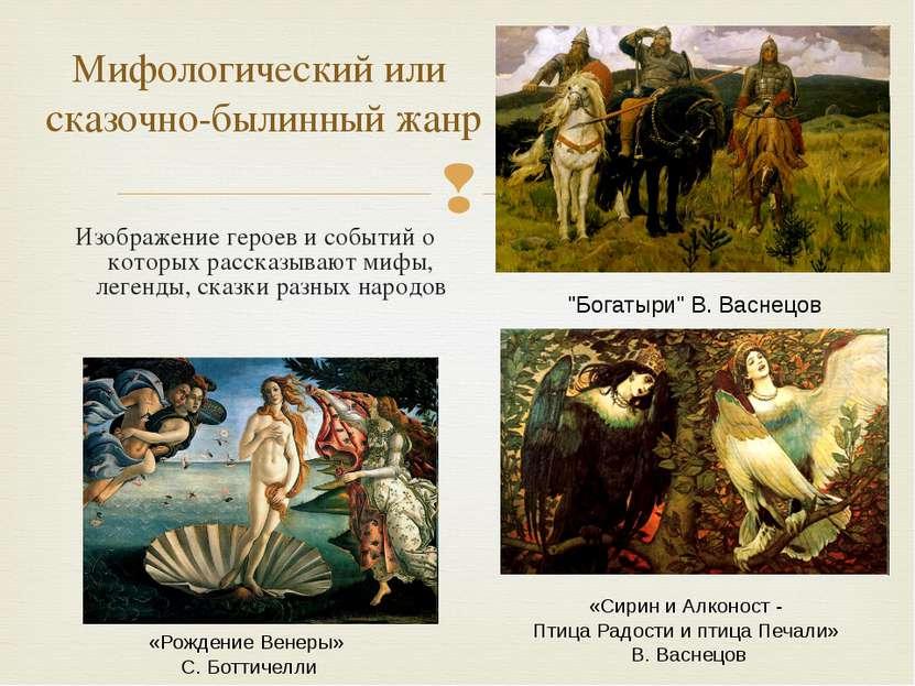 Изображение героев и событий о которых рассказывают мифы, легенды, сказки раз...
