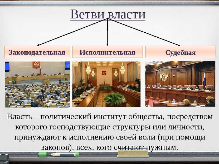 Ветви власти Законодательная Исполнительная Судебная Власть – политический ин...