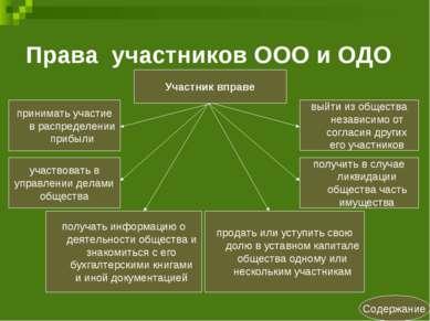 Права участников ООО и ОДО Содержание Участник вправе участвовать в управлени...