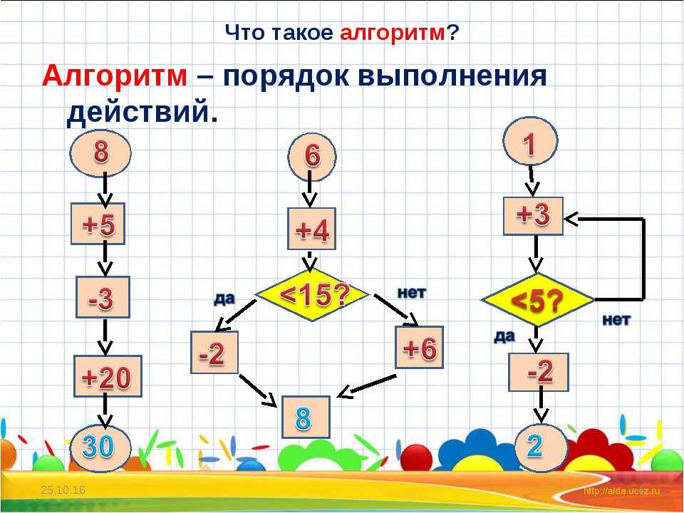 Что такое алгоритм? Алгоритм – порядок выполнения действий. * *