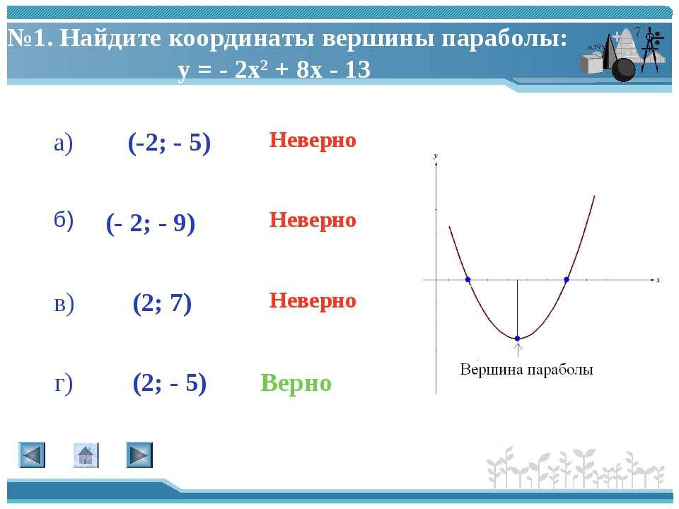 №1. Найдите координаты вершины параболы: у = - 2х2 + 8х - 13 (-2; - 5) (- 2; ...