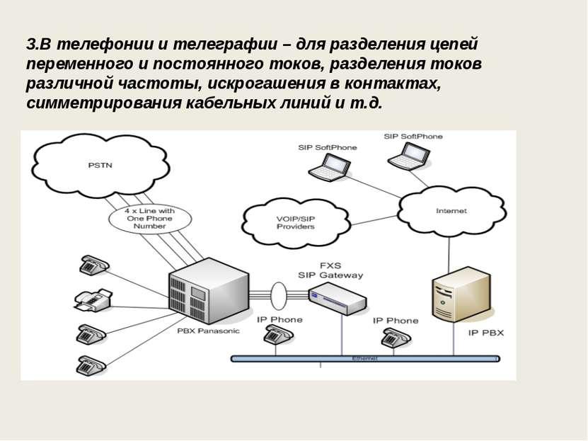 3.В телефонии и телеграфии – для разделения цепей переменного и постоянного т...