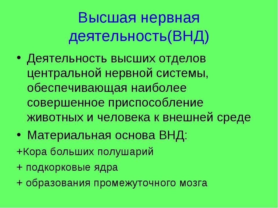 Высшая нервная деятельность(ВНД) Деятельность высших отделов центральной нерв...