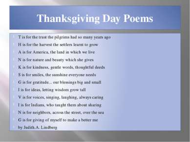 Thanksgiving Day Poems T is for the trust the pilgrims had so many years ago ...