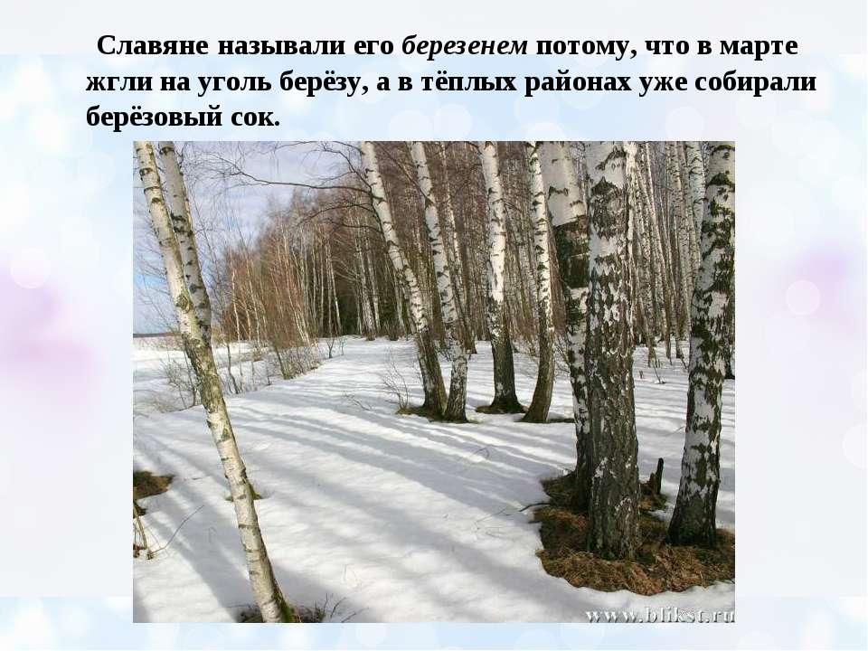 Славяне называли его березенем потому, что в марте жгли на уголь берёзу, а в ...