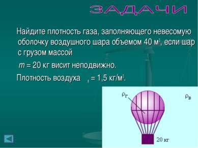 Найдите плотность газа, заполняющего невесомую оболочку воздушного шара объем...