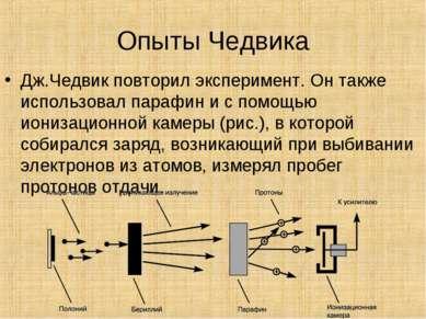 Опыты Чедвика Дж.Чедвик повторил эксперимент. Он также использовал парафин и ...