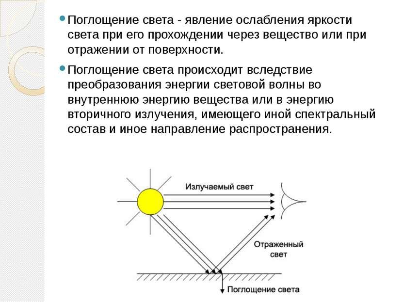 Поглощение света - явление ослабления яркости света при его прохождении через...